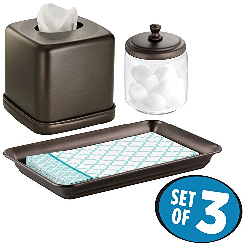 mDesign Metal Vanity Towel Tray, Facial Tissue Box Cover/Holder, Canister Jar for Cotton Balls, Swabs, Cosmetic Pads - Set of 3, Clear/Bronze - Canister Box