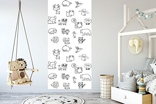 Removable Wallpaper for Coloring Mural Peel & Stick for Kids and Adults Happy Halloween (25W x 44H Inches) ()