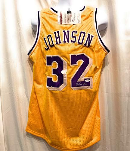 22073c879 Magic Johnson Los Angeles Lakers Signed Autograph Yellow Custom Jersey JSA  Witnessed Certified