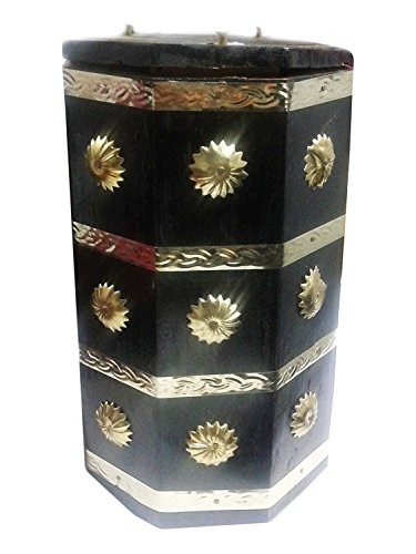 Its Banks (Valentine Day Special Gift, Wooden Octal Shape Money Bank Flower on It, Kids Piggy Bank, Wooden Coin Box, Black Color Size 8.5 X 5 Inch)