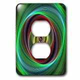 3dRose David Zydd - Colorful Abstract Designs - Time Travel - colorful twisting curved stripes - Light Switch Covers - 2 plug outlet cover (lsp_286777_6)