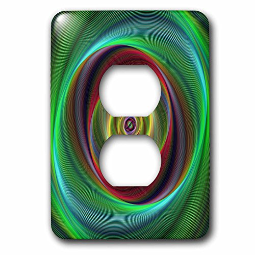 3dRose David Zydd - Colorful Abstract Designs - Time Travel - colorful twisting curved stripes - Light Switch Covers - 2 plug outlet cover (lsp_286777_6) by 3dRose