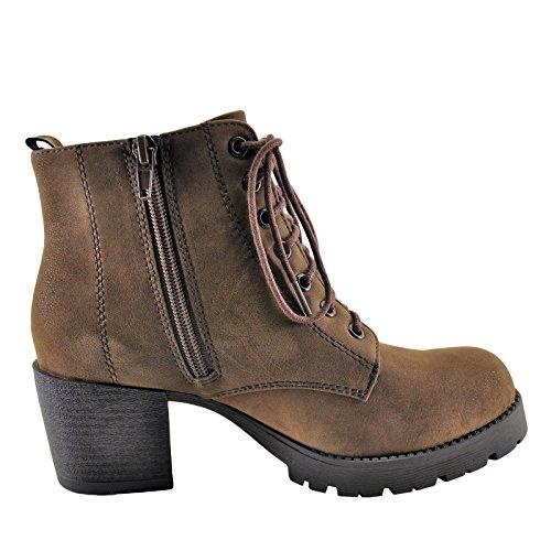 Up Soda Boot Heel Brown Block Lace Women's Nevitt wq4SrYqX