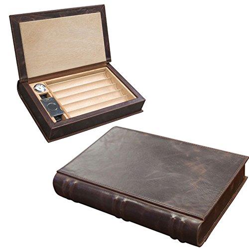 Prestige Import Group - The Novelist Leather Book Travel Cigar Humidor - Color: Brown