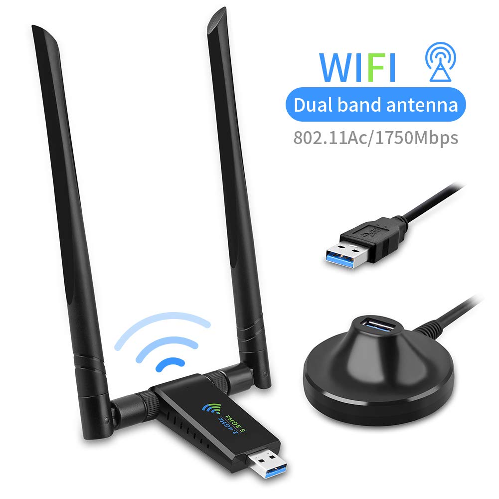 USB WiFi Adapter for PC, Techkey 1750Mbps Dual Band 2.4GHz/450Mbps 5GHz/1300Mbps High Gain 5dBi Antennas USB 3.0 Wireless Network Adapter for Desktop Laptop with Windows 10/8/7/XP/Vista, Mac OS