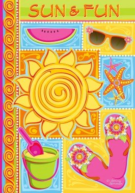 Summer Day Welcome Flag Sun And Fun For Sale