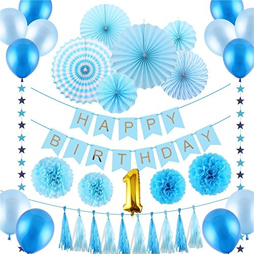 Happy 1st Birthday - Deluxe Party Decorations All-In-One Kit Blue for Boy or Girl by GreatestDeals