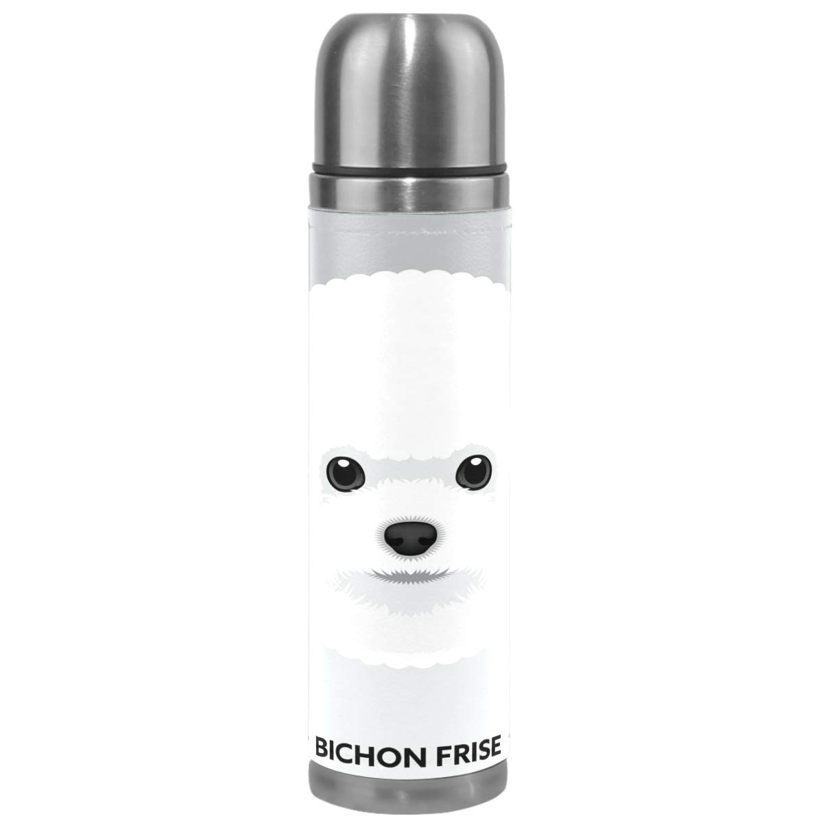 Wamika Cute Dog Pattern Vacuum Insulated Stainless Steel Water Bottle, Bichon Frise Puppy Funny Pets Animals Sports Coffee Travel Mug Thermos Cup Genuine Leather Cover Double Walled BPA Free 17 OZ