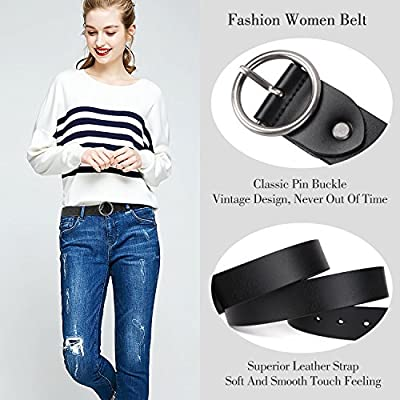 WERFORU Women Casual Dress Belt Genuine Leather Belt with Round Buckle