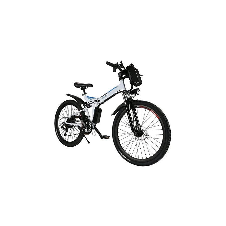"Leoneva 26"" Foldable Electric Power Mountain Terrain Bicycle with Lithium Ion Battery(36V 250W) (White Blue1)"