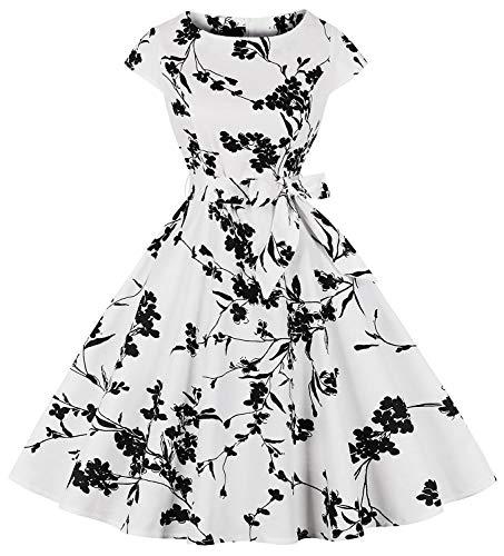 Womens Vintage 1950s Cap Sleeve Swing Dress Floral Print a-Line Party Cocktail Dress Dr04 (wht Plum FLW, XL)