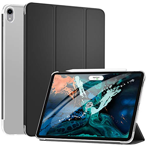 Ztotop Case for iPad Pro 12.9 Inch 2018-Slim Trifold Stand Cover with Auto Wake/Sleep and Rugged Translucent Back Cover Support 2nd Gen iPad Pencil Charging for iPad Pro 12.9 Inch 2018,Black