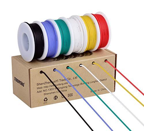 30 AWG Electronic Wire Kit Flexible Silicone Wire 30 Gauge Stranded Wire Tinned Copper Wire (6 different colored 66 Feet spools) 60V Insulated Wire