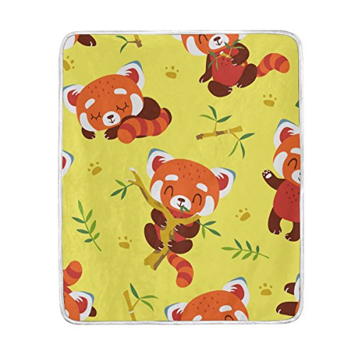My Little Nest Warm Throw Blanket Cartoon Red Panda Yellow Lightweight MicrofiberSoft Blanket Everyday Use for Bed Couch Sofa 50