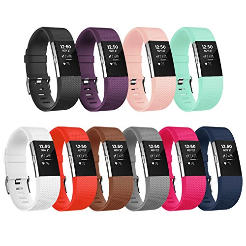 For Fitbit Charge 2 Bands, Adjustable Soft Replacement Sport Strap for Fitbit Charge 2 Fitness Wristband Large Small