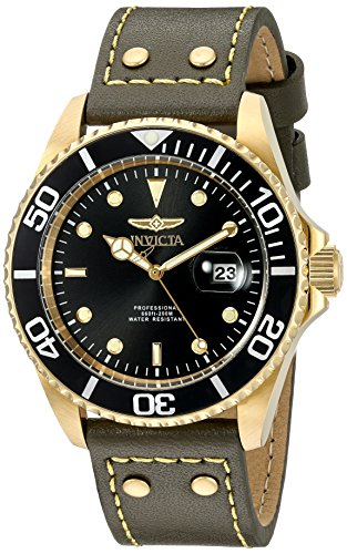 Invicta Men's 'Pro Diver' Quartz Stainless Steel and Leather Watch, Color:Green (Model: 22075) ()