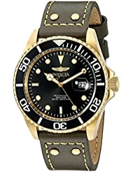 Invicta Mens Pro Diver Quartz Stainless Steel and Leather Watch, Color:Green (Model: 22075)