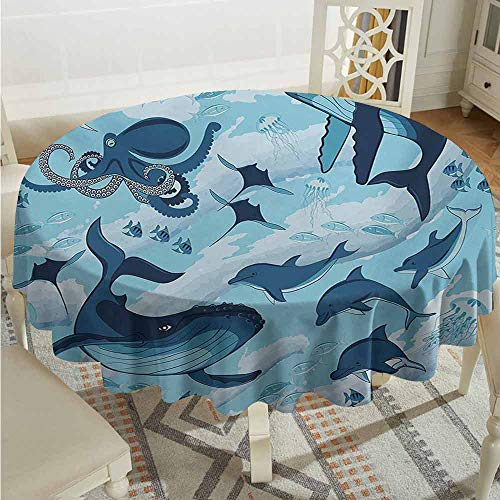 ScottDecor Restaurant Round Tablecloth Shark Inhabitants of Ocean Sharks Whales Dolphins Octopus Jellyfish Starfish with Waves Image Blue Fabric Tablecloth Diameter 36