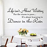 Life Is Not About Waiting 23''10'' Removable Cute Shelf Art Characters Writing Vinyl Pvc Decal Wall Sticker Mural Home Decor^.