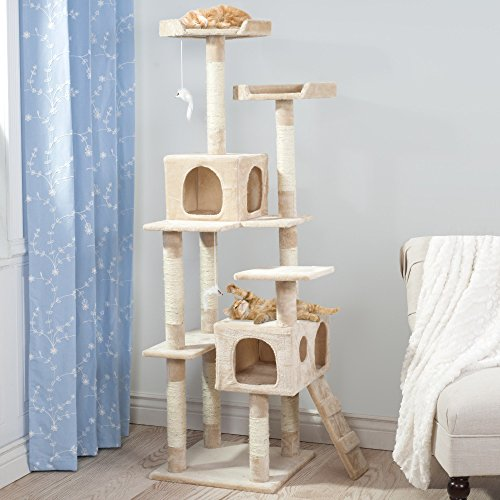 1 Piece Tan 66.25 Inches High Skyscraper Comfort Scratcher Cat Condo, Natural Brown Versatile Pet Tree Perch Bed Kitty Tower House, Four Sleeper Areas Mouse Toys Elevated Stable, Carpet Rope ()
