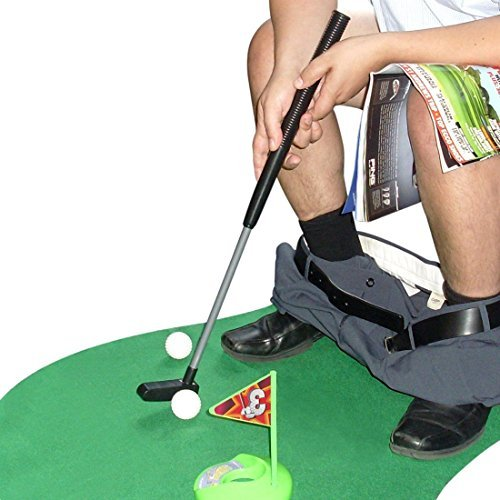 Toilet Golf Potty Time Putter Bathroom Game - Prank Funny Gag Joke Gifts for Adults Men Dad White Elephant Coworkers