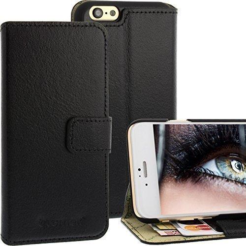 étui style portefeuille en cuir pour Apple iPhone 6 Noir à fermeture magnétique avec compartiments toutes les cartes de visite/ crédit sous forme livre Blumax Véritable