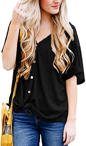 NENONA Women's Casual Short Sleeve Knitted Button Down Loose Tops Blouse T Shirt with Front Tie(Black-L)