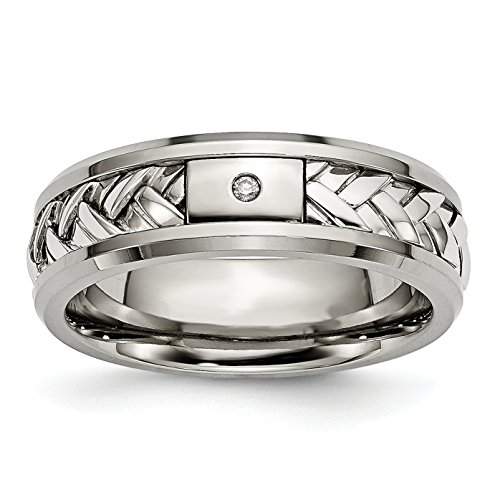 Titanium and Sterling Silver Inlay Diamond Wedding Band Size 11 (0.017ct, H-SI2) Diamond Silver Bezel Bands