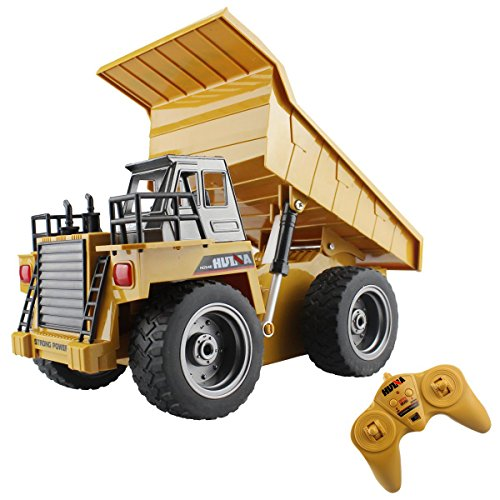 fisca RC Truck 6 Ch 2.4G Alloy Remote Control Dump Truck 4 Wheel Driver Mine Construction Vehicle Toy Machine Model with LED Light