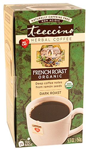 Teeccino French Roast Organic Chicory Herbal Tea bags, Caffeine Unfastened, Acid Free  25 Count (Pack of 3)