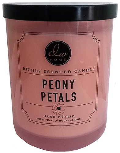 Decoware Exotic Richly Scented Floral Peony Petals 2-Wick Candle 15.48 Oz. In Glass (Petals Peony)