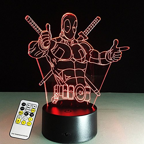 3D Lamp Deadpool Remote Control Best Gift For boys Acrylic Table Night light Furniture Decorative colorful 7 color change household Home - Gifts Deadpool