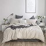 Simple&Opulence French Linen Duvet Cover Set 3PCS Solid Color Luxury Bedding Set (King, Linen)