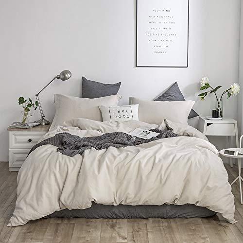 (Simple&Opulence French Linen Duvet Cover Set 3PCS Solid Color Luxury Bedding Set (Twin, Linen))