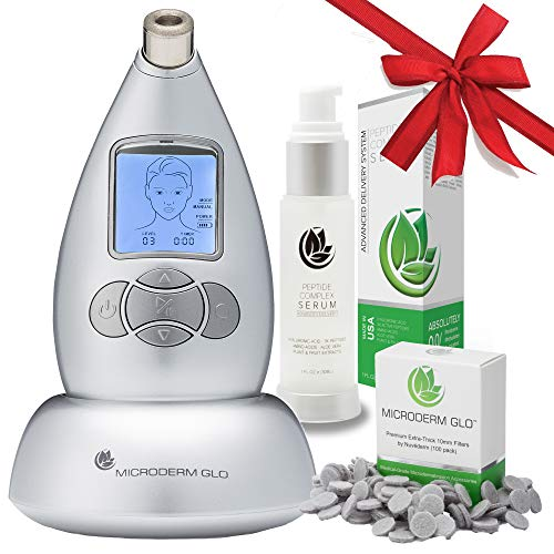 Microderm GLO Premium Skincare Bundle - Includes Diamond Microdermabrasion  System, 10mm Filters (100 pack) & Peptide Complex Serum  Best Anti Aging