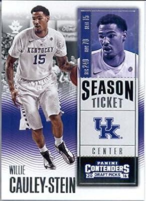 2016-17 Panini Contenders Draft Picks #37 Willie Cauley-Stein Kentucky Wildcats Basketball Card in Protective Screwdown Display Case