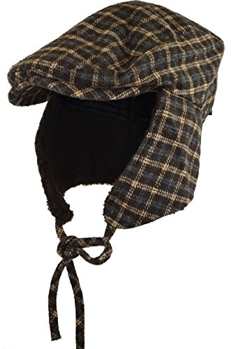 (Deewang Fashion Men's Herringbone Tweed Solid Newsboy Driving Cabbie, Ivy Flat Cap (S/M, Brown Plaid-Earflap))