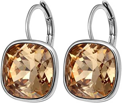 Xuping Fashion Golden Crystals from Swarovski Platinum Plated Huggies Hoop Earring Valentine's Day Jewelry Gifts