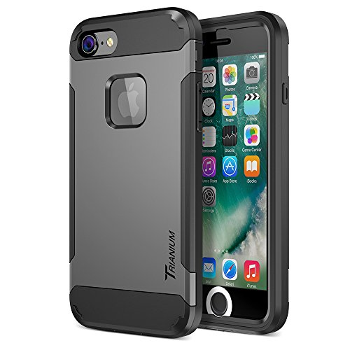 Trianium iPhone 7 Case [Duranium Series] Heavy Duty Ultra Protective Hard Cover Shock Absorption w/ Built-in Screen Protector+ Holster Belt Clip Kickstand for Apple iPhone 7 2016 -Gunmetal (TM000181) by Trianium (Image #1)