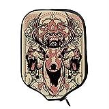 YOLIYANA Deer Decor Durable Racket Cover,Modern Artsy Illustration of Skull Deer and Wolves with Floral Design Majestic Antler for Sandbeach,One Size