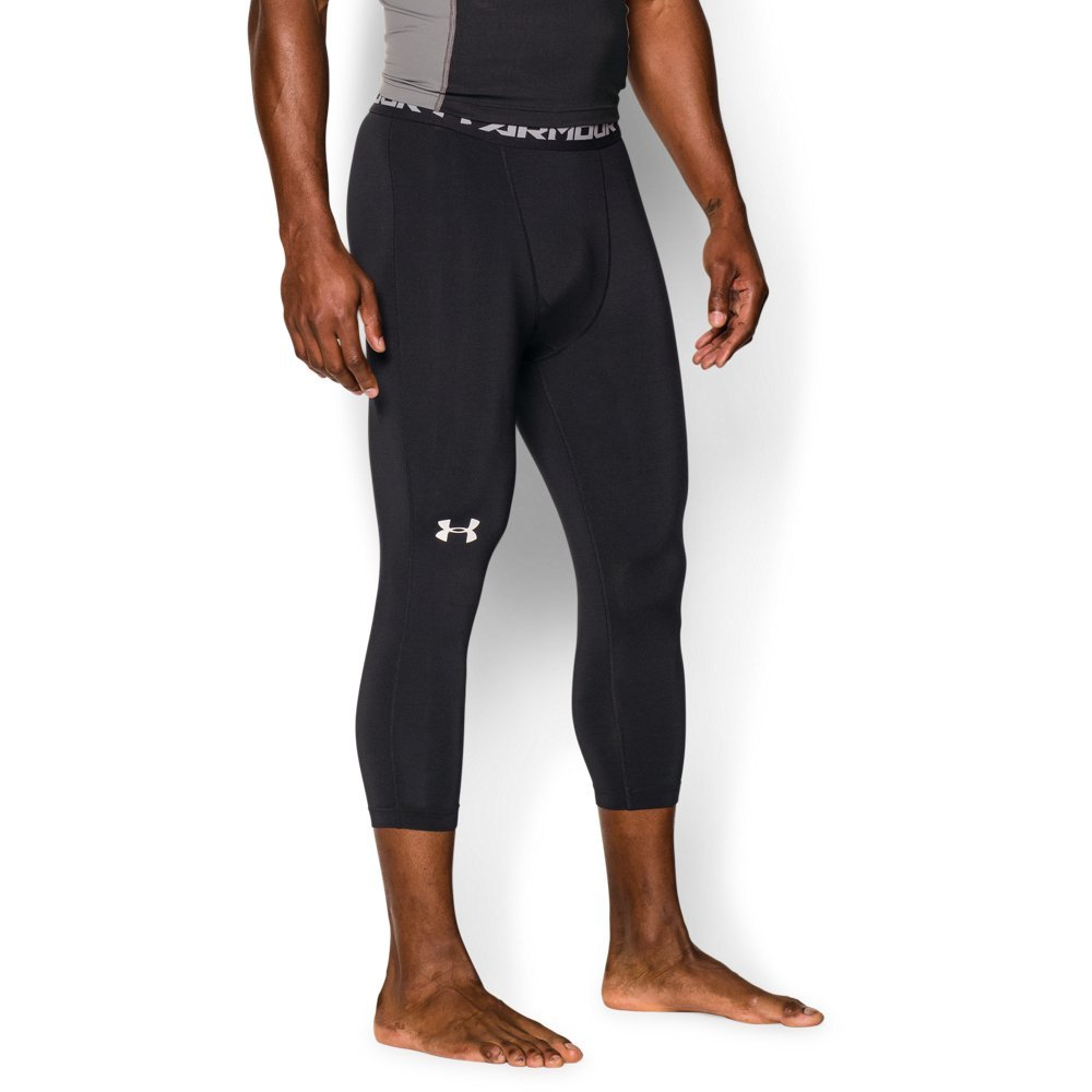 Under Armour Men's HeatGear Armour ¾ Compression Leggings, Black /White, Large by Under Armour (Image #1)