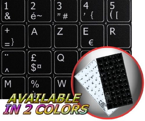french azerty non transparent keyboard labels layout black or white