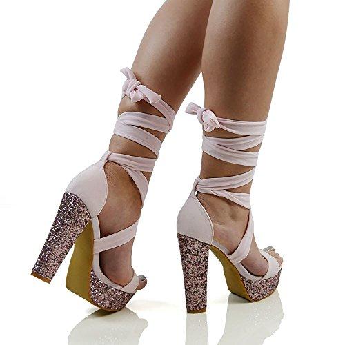 ESSEX GLAM Gamuza Sintética Zapatos de fiesta con tacón alto, cuadrado y brillante, plataforma y cordones al tobillo Rosa Pastel Gamuza Sintética