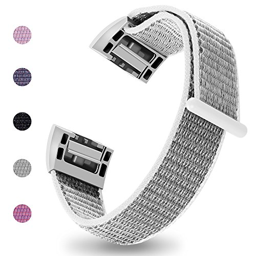iGK Nylon Replacement Bands Compatible for Fitbit Charge 2, Premium Woven Nylon Adjustable Replacement Bands Breathable Sport Strap with Metal Connector Gray Small