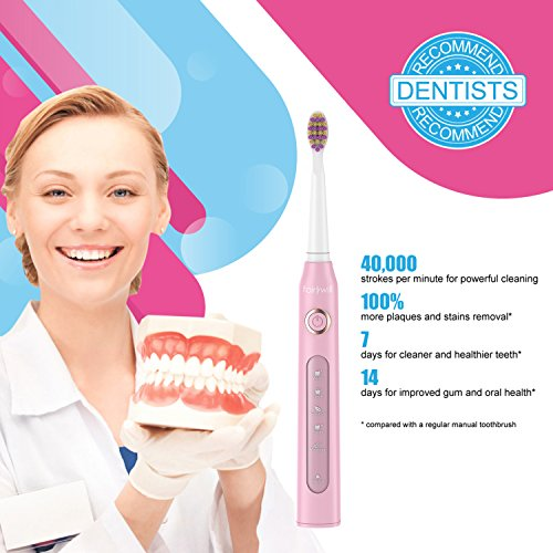Fairwyill Electric Toothbrush Clean as Dentists Rechargeable Sonic Toothbrush with Timer 4 Hours Charge Available for 30 Days Use 5 Modes for Travel Waterproof for Shower 3 Replacement Heads Pink