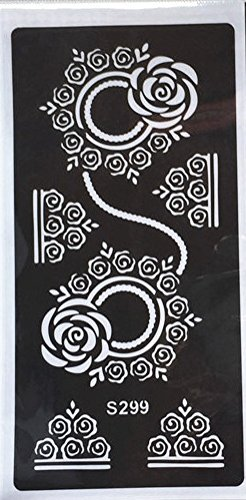 Mehndi Tatouage Pochoir pour le corps Mehndi Tatouages au henné - à usage unique S299 - pour tatouage au henné, tatouage paillettes et aérographe tatouage Beyond