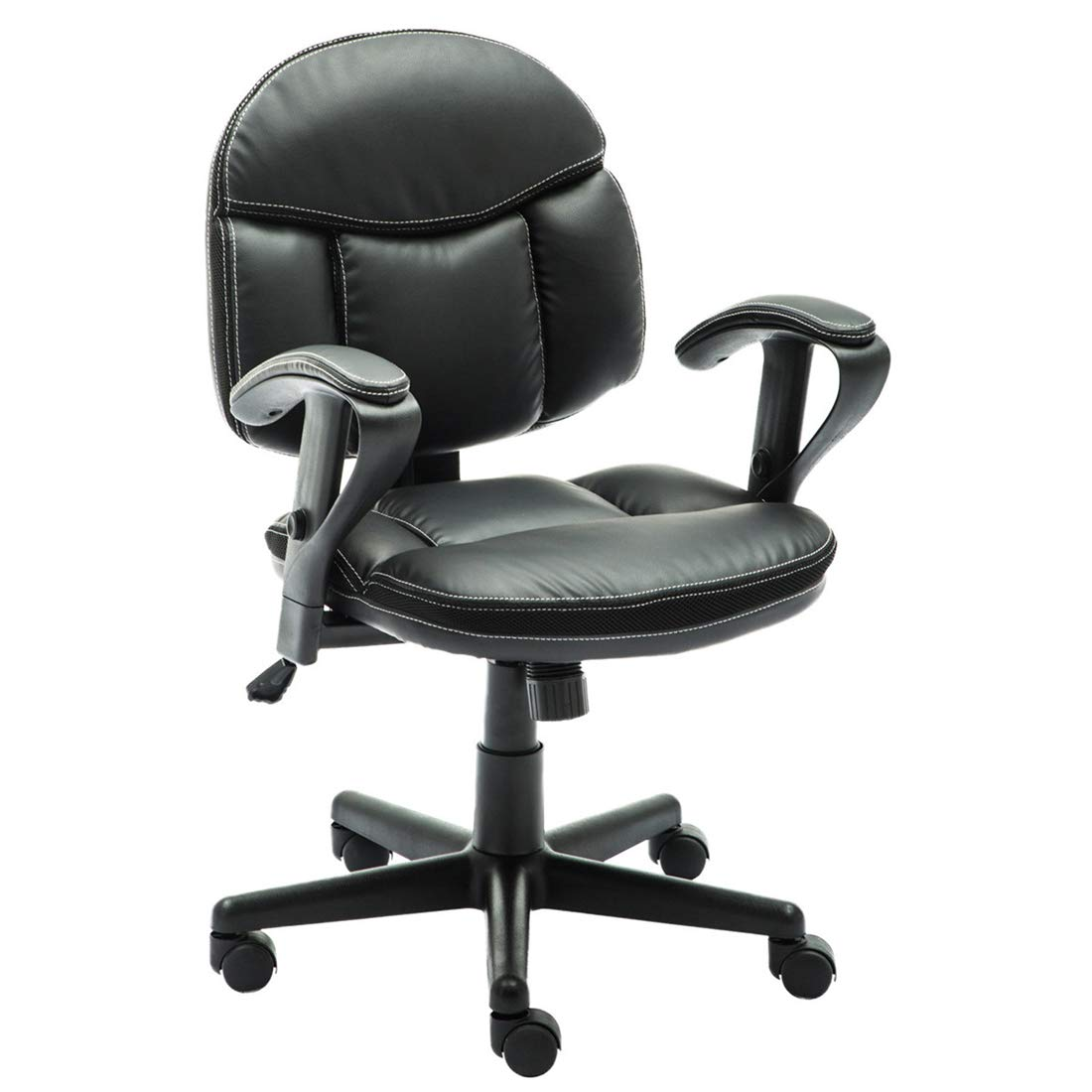 Irene House Comfortable Adult Teen's Swivel Adjustable PU Desk Chair,Ergonomic Mid-Back Student Computer Task Chair,Medium Adult's Home Office Chair(Black) by Irene House (Image #1)