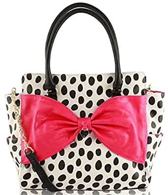 Betsey Jphnson Lattice Bows Bone Black Polka Dot Satchel Tote Cross Body Shoulder Bag
