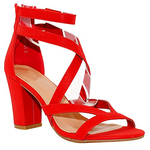 TRENDSup Collection Women's Chunky Heel Ankle Strap Sandals (5.5, Red)
