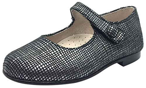 Hoo Shoes Girl's Hoova Black & Silver Checkered Leather Mary Jane Hook and Loop Strap Flats 33 M EU/ 2.5 M US Little Kid